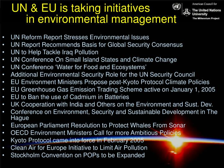 UN & EU is taking initiatives