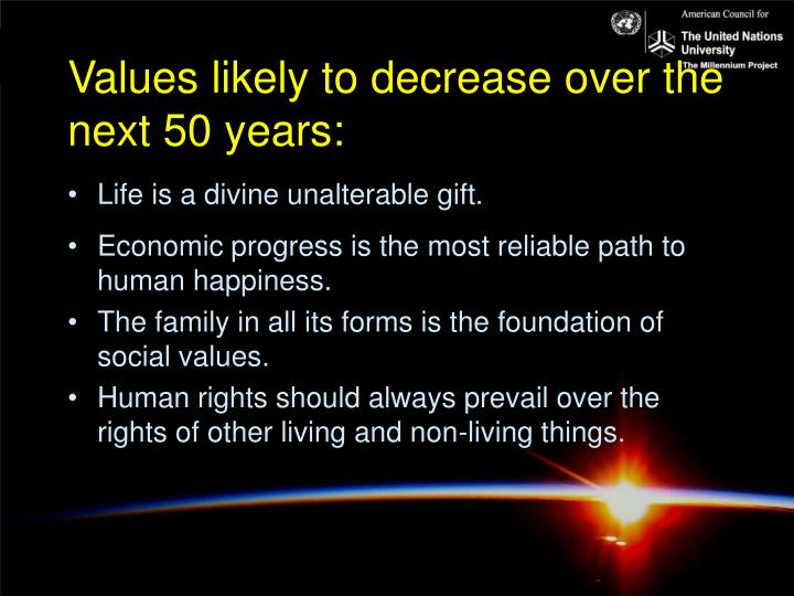Values likely to decrease over the next 50 years: