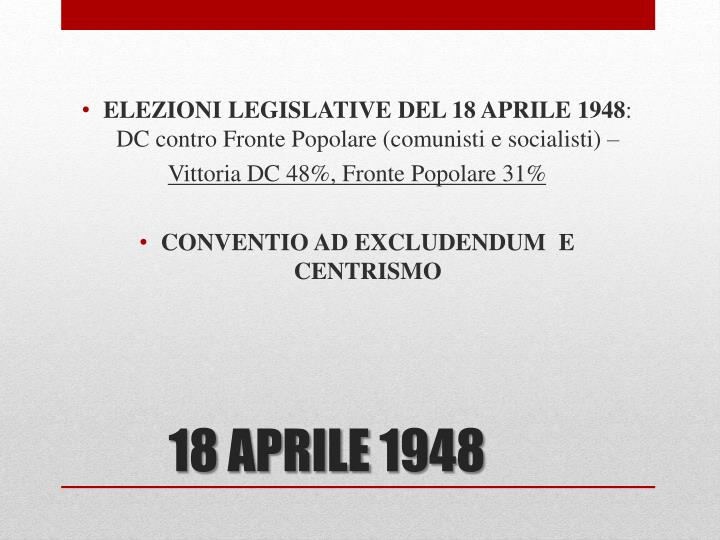 ELEZIONI LEGISLATIVE DEL 18 APRILE 1948
