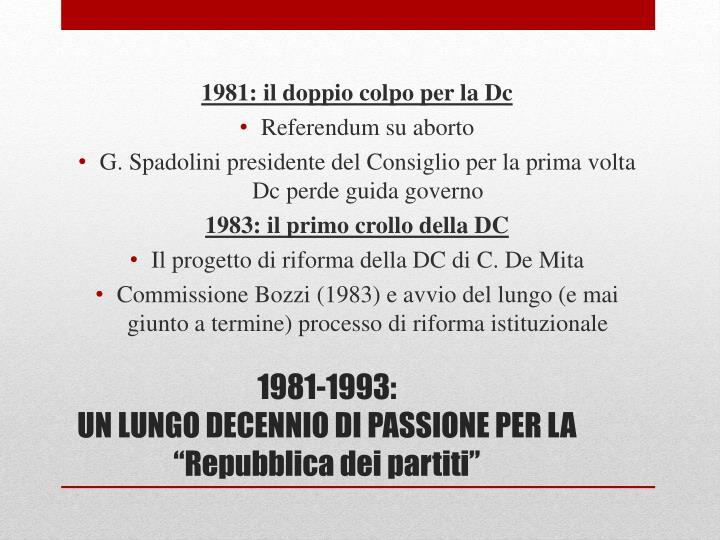 1981: il doppio colpo per la Dc