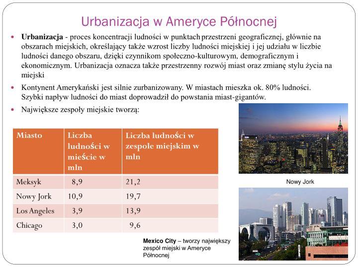 Urbanizacja w Ameryce Północnej