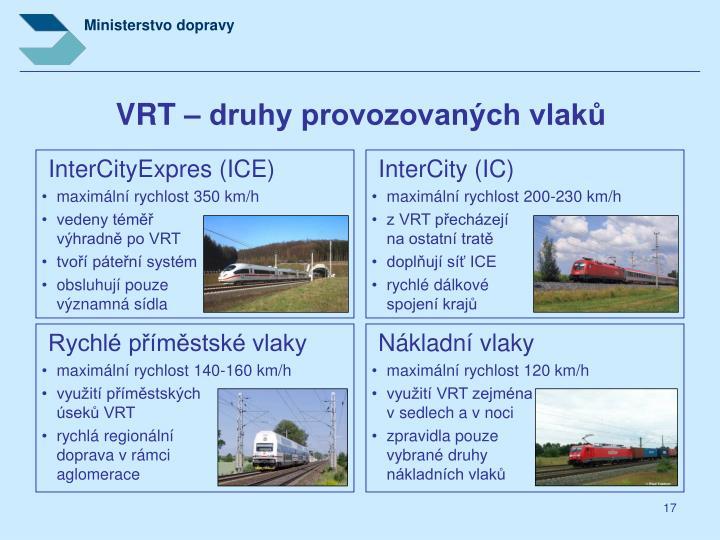 VRT – druhy provozovaných vlaků
