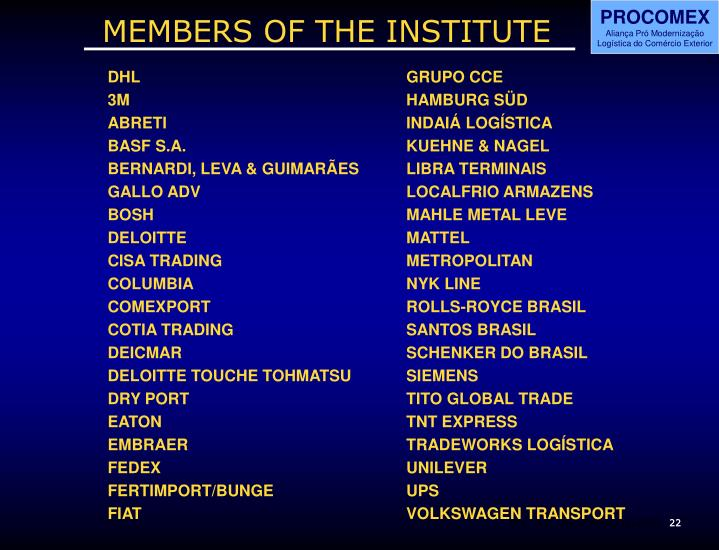 MEMBERS OF THE INSTITUTE