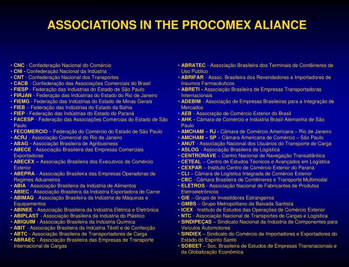 ASSOCIATIONS IN THE PROCOMEX ALIANCE