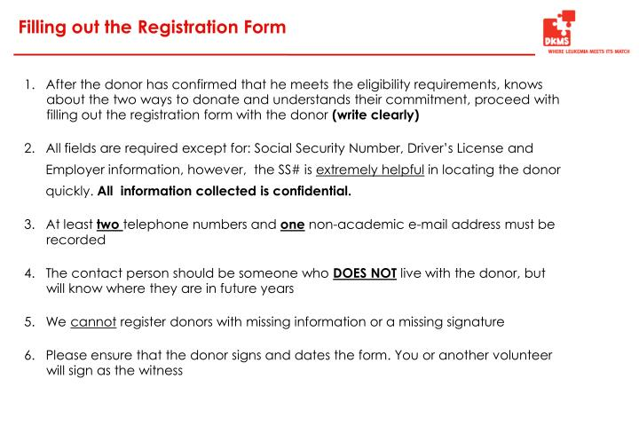 Filling out the Registration Form