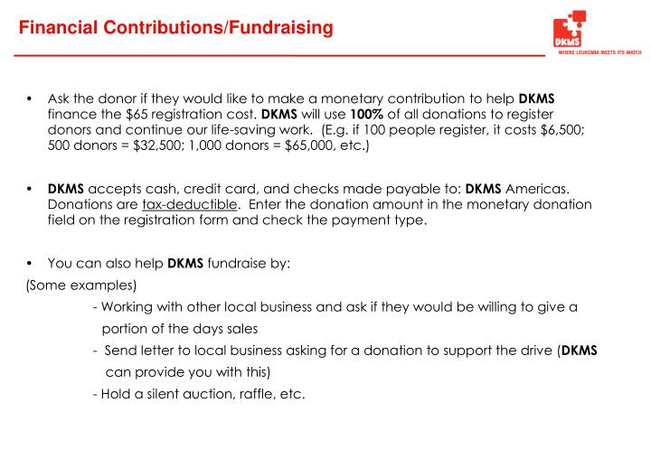 Financial Contributions/Fundraising