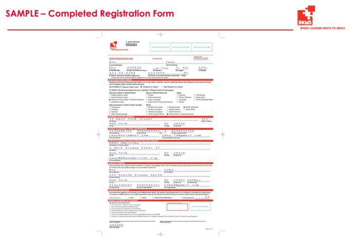 SAMPLE – Completed Registration Form