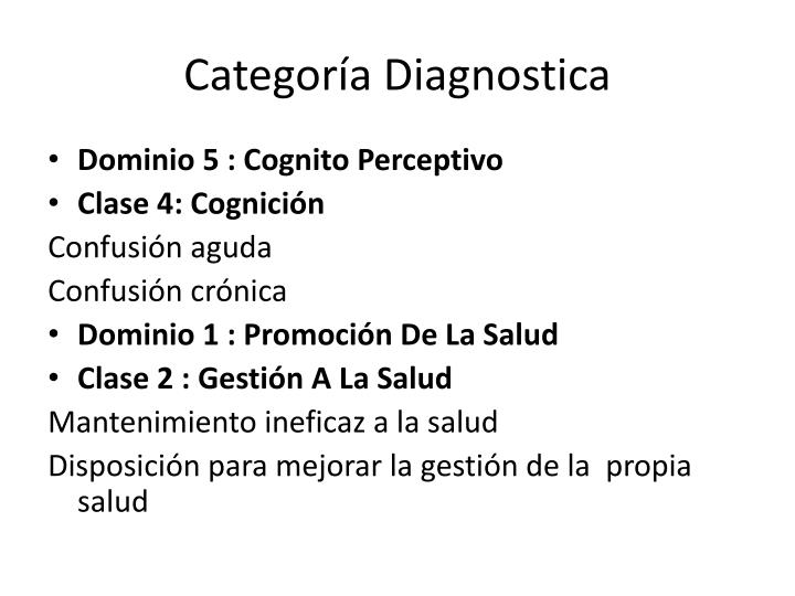 Categoría Diagnostica