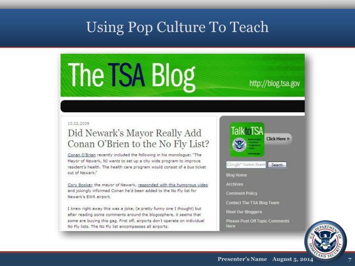 Using Pop Culture To Teach