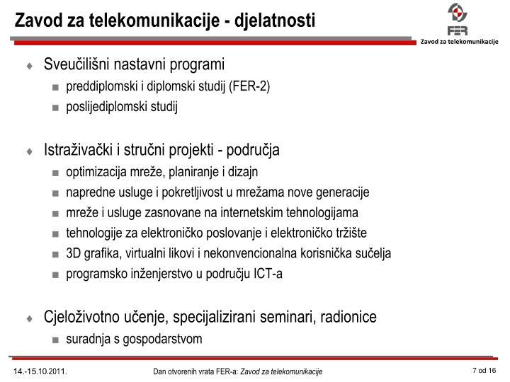 Zavod za telekomunikacije - djelatnosti