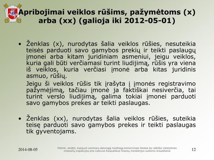 Apribojimai veiklos rūšims, pažymėtoms (x) arba (xx) (galioja iki 2012-05-01)