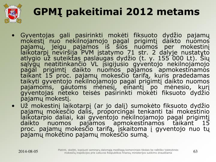 GPMĮ pakeitimai 2012 metams