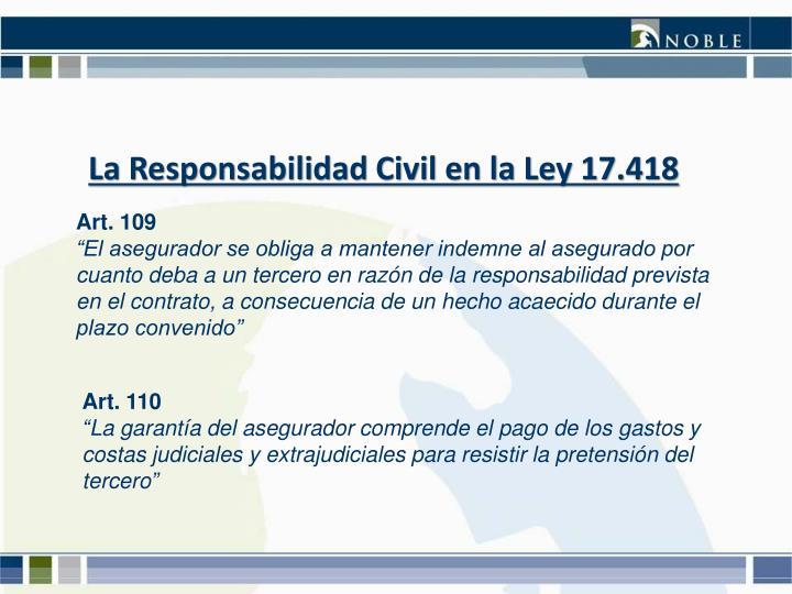 La Responsabilidad Civil en la Ley 17.418