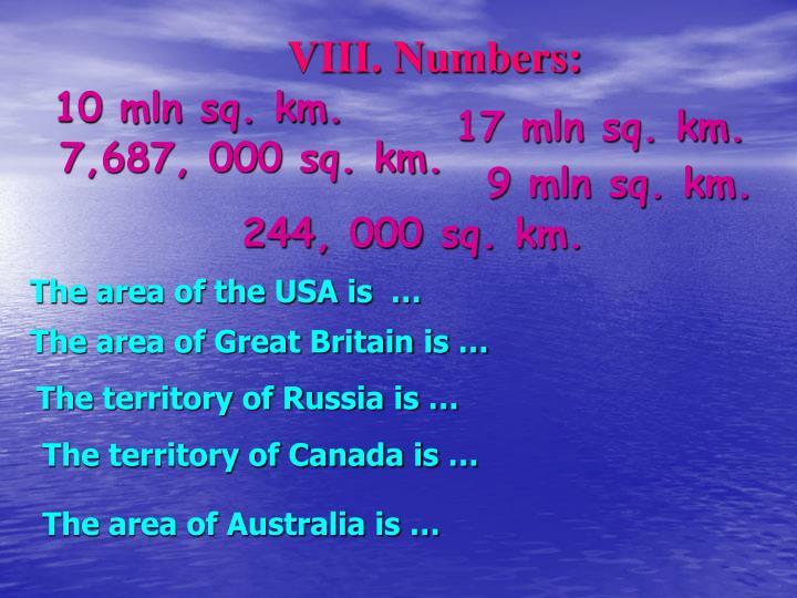 VIII. Numbers: