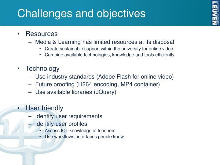 Challenges and objectives