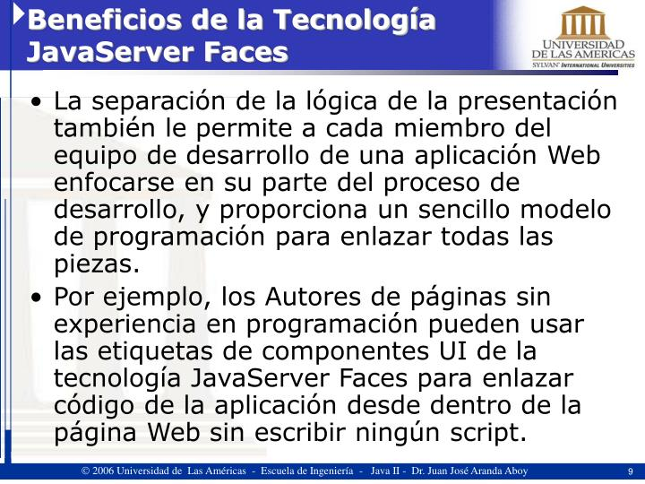 Beneficios de la Tecnología JavaServer Faces