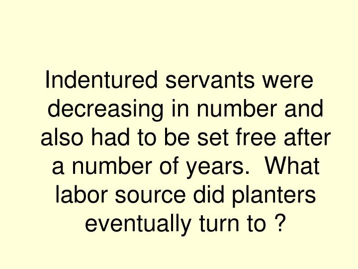 Indentured servants were decreasing in number and also had to be set free after a number of years.  What labor source did planters eventually turn to ?