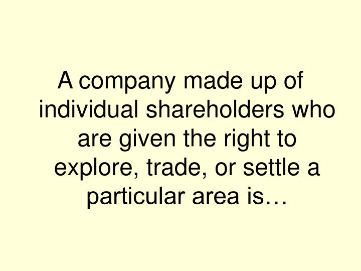 A company made up of individual shareholders who are given the right to explore, trade, or settle a particular area is…