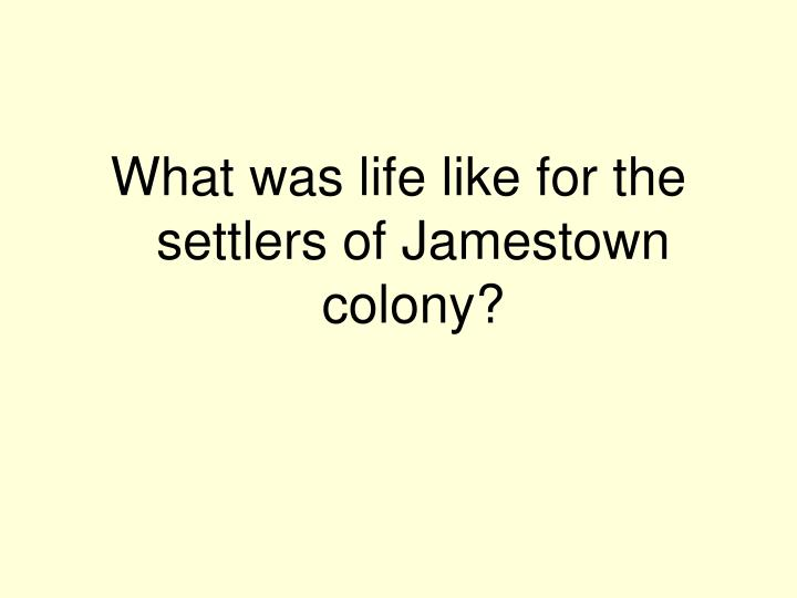 What was life like for the settlers of Jamestown colony?