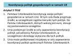 koordynacja polityk gospodarczych w ramach ue
