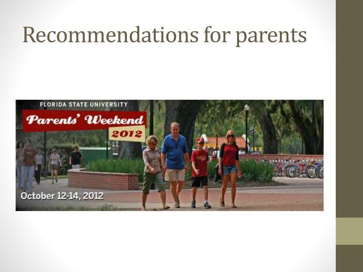 Recommendations for parents