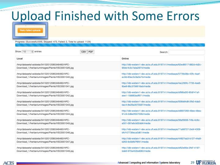 Upload Finished with Some Errors
