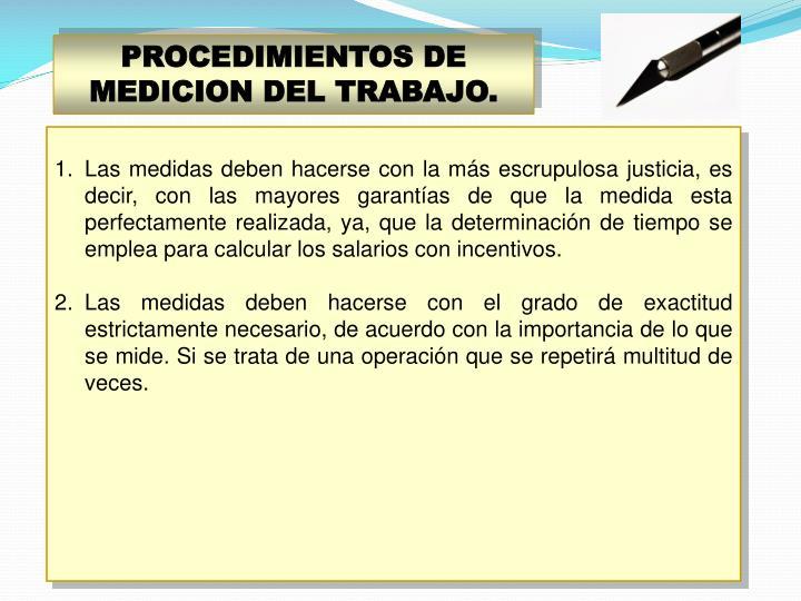 PROCEDIMIENTOS DE MEDICION DEL TRABAJO.