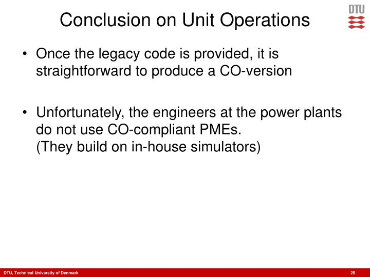 Conclusion on Unit Operations