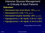 intensive glucose management in critically ill adult patients1