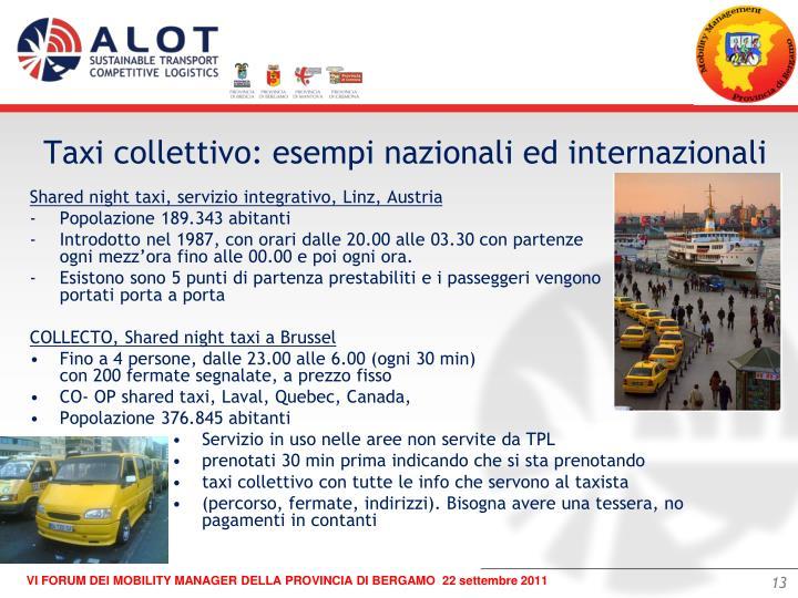 Taxi collettivo: esempi nazionali ed internazionali