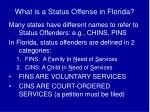 what is a status offense in florida