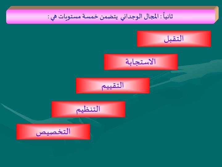 ثانياً : المجال الوجداني  يتضمن خمسة مستويات هي :