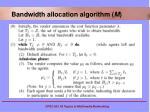 bandwidth allocation algorithm m