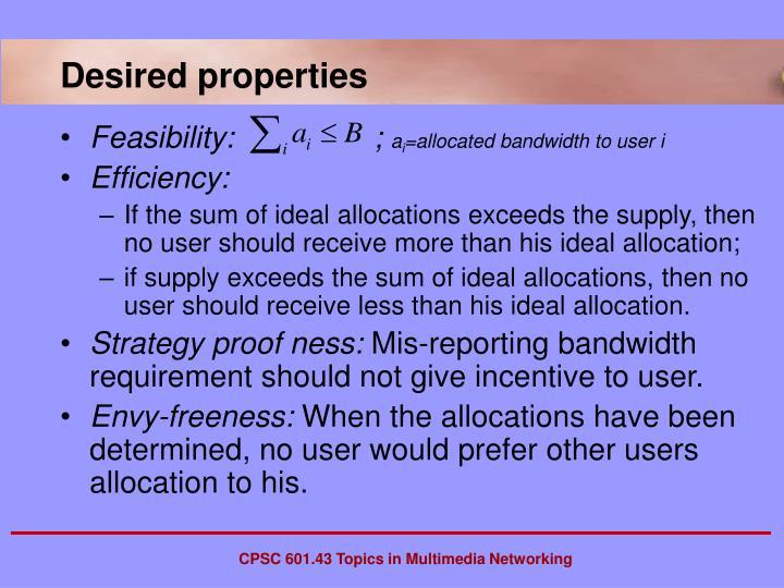 Desired properties