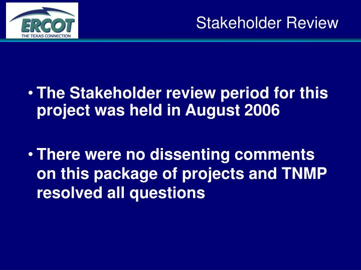 Stakeholder Review