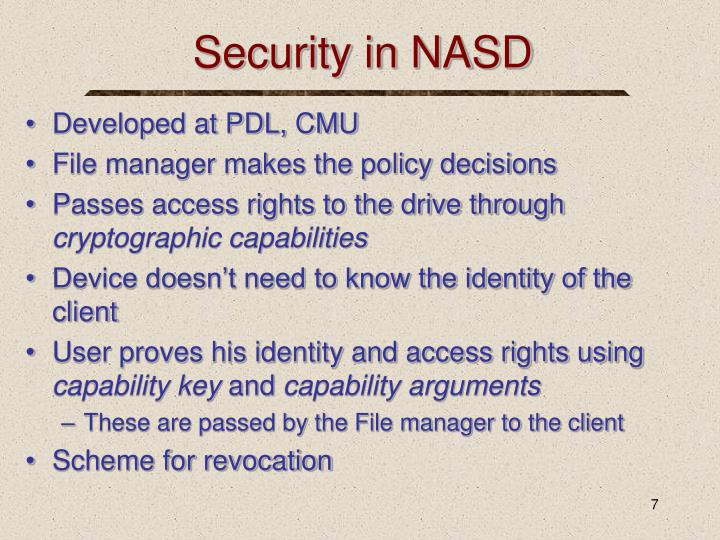 Security in NASD