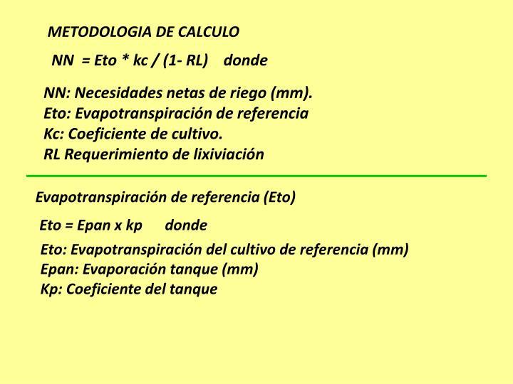 METODOLOGIA DE CALCULO