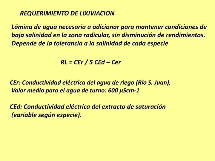 REQUERIMIENTO DE LIXIVIACION