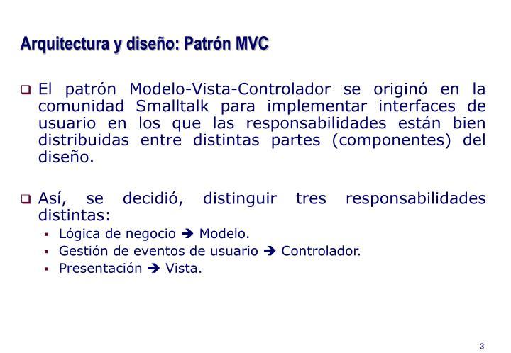 Arquitectura y diseño: Patrón MVC