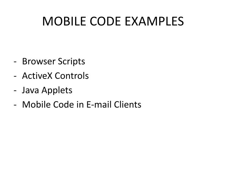 MOBILE CODE EXAMPLES