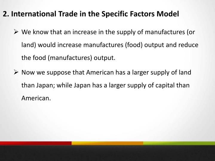 2. International Trade in the Specific Factors Model
