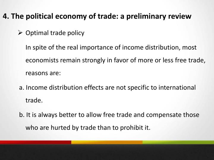 4. The political economy of trade: a preliminary review