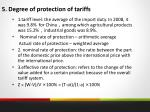 5 degree of protection of tariffs
