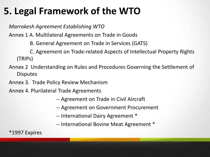 5. Legal Framework of the WTO