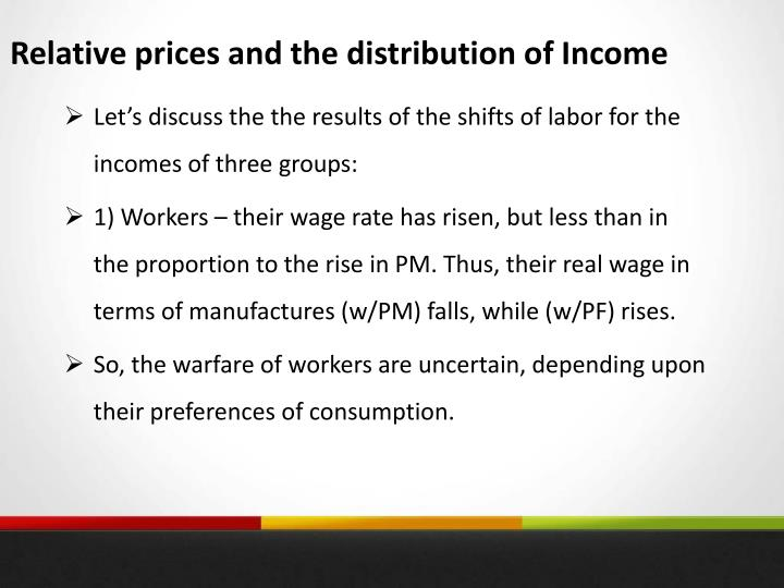Relative prices and the distribution of Income