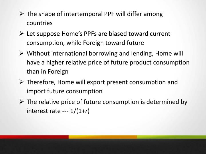 The shape of intertemporal PPF will differ among countries