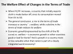 the welfare effect of changes in the terms of trade