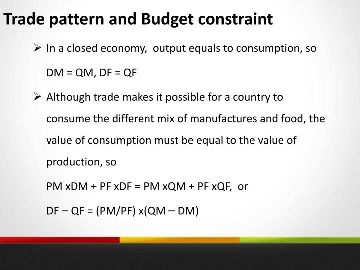 Trade pattern and Budget constraint