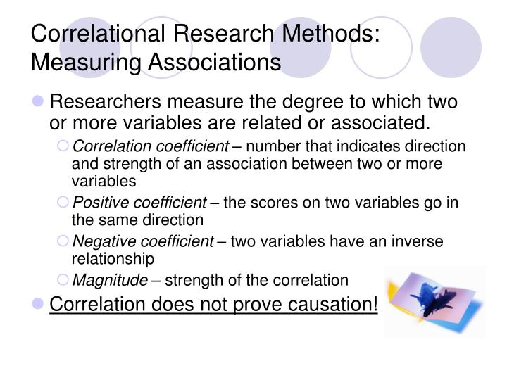 Correlational research methods measuring associations