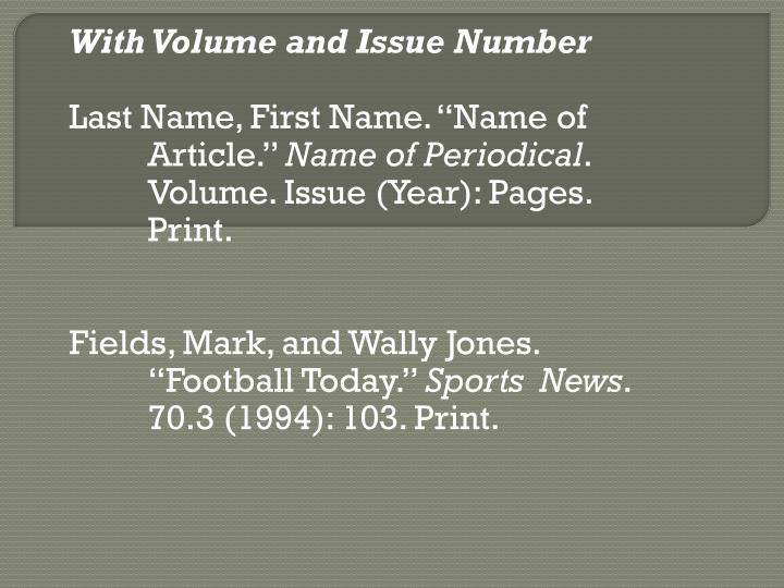With Volume and Issue Number